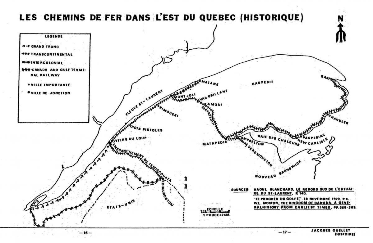 Carte historique des chemins de fer dans l'est du Québec